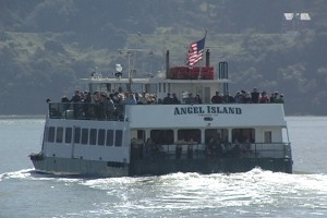 "Look for the big ""square deck"" ferry - it's the Official Angel Island Tiburon Ferry to Angel Island out of Tiburon, CA"