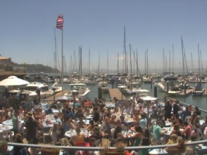 "Tiburon locals and tourist alike enjoy fresh ""sea-to-table"" dining and drinks on Sam's waterfront deck"